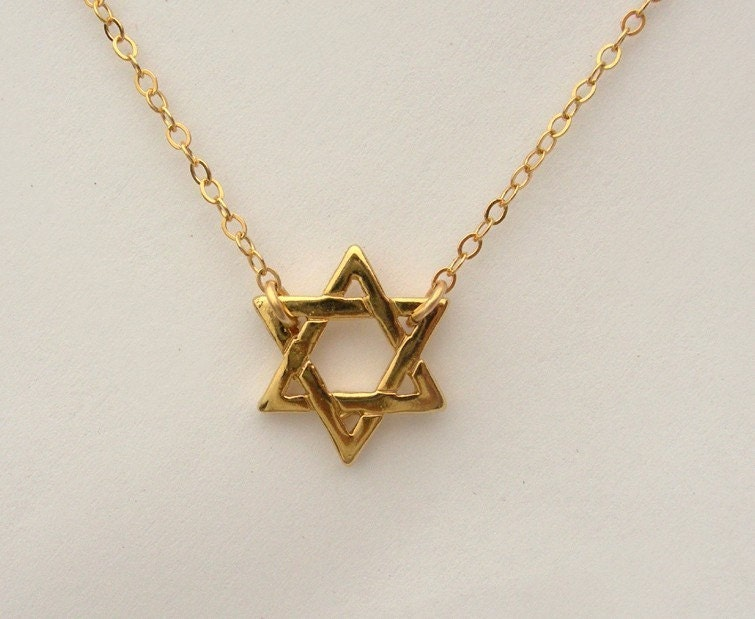 gold star of david necklace. 18kt Gold Star of David