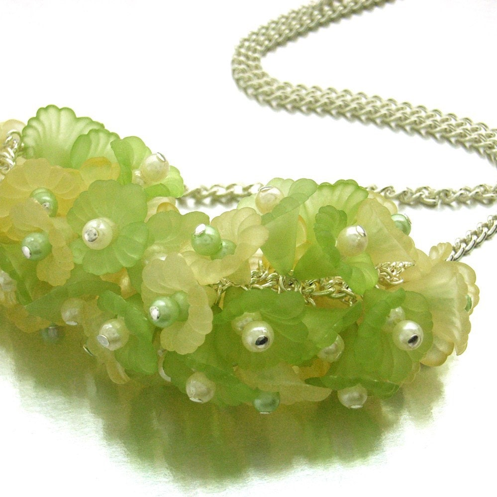 Handmade  lemon and lime Lucite flowers cluster necklace