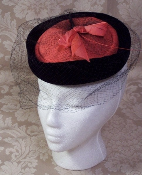 VINTAGE BIRDCAGE STYLE HOT PINK AND BLACK VEILED COCKTAIL HAT