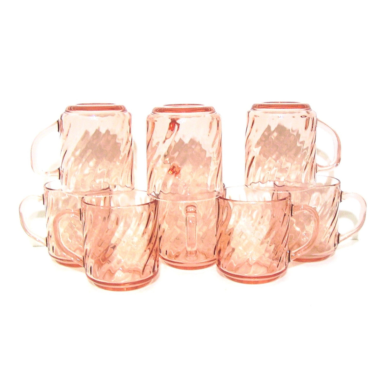 Vintage Arcoroc Glass Mugs Pink Swirl France Rosaline - OceansideCastle