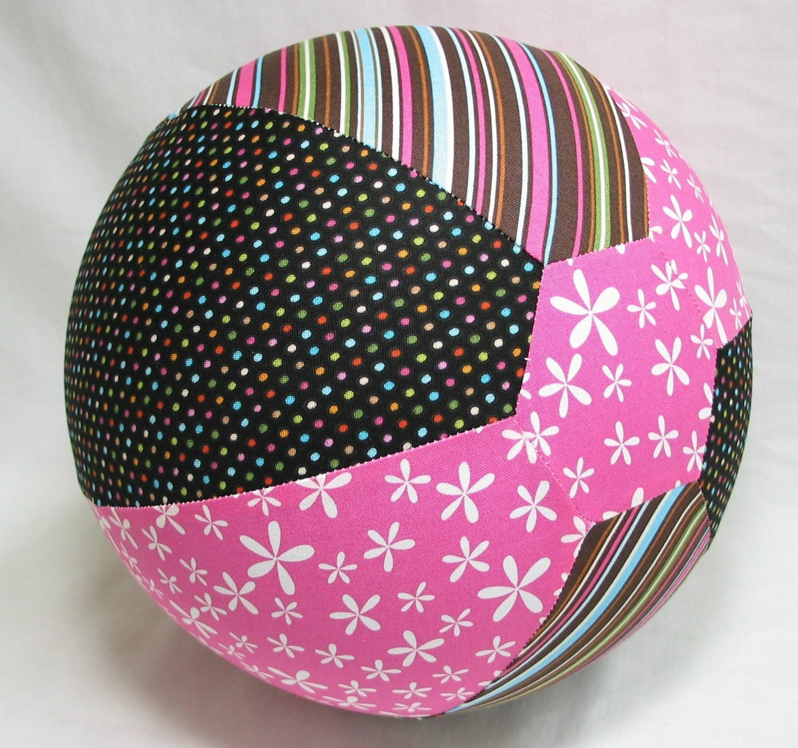 reserved for Christy - Balloon Ball TOY - Girly FUN Fabric - Hot Pink and Chocolate Brown