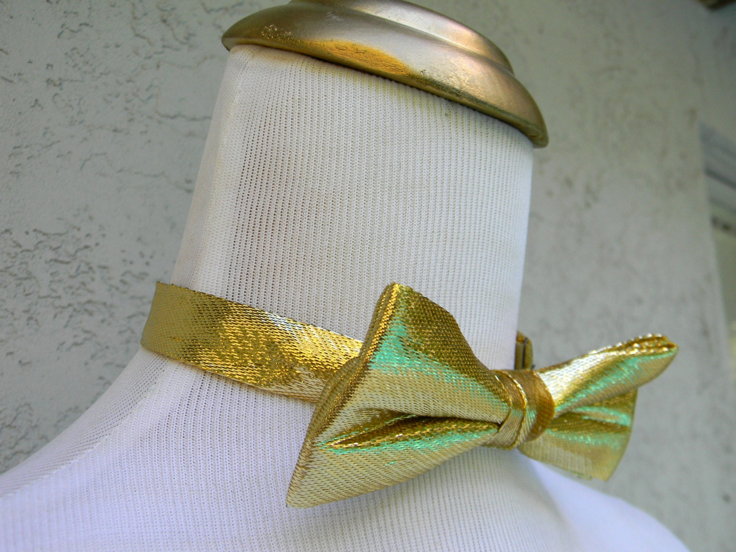 vintage 80s shiny metallic gold lame bow tie w by dayglodiva