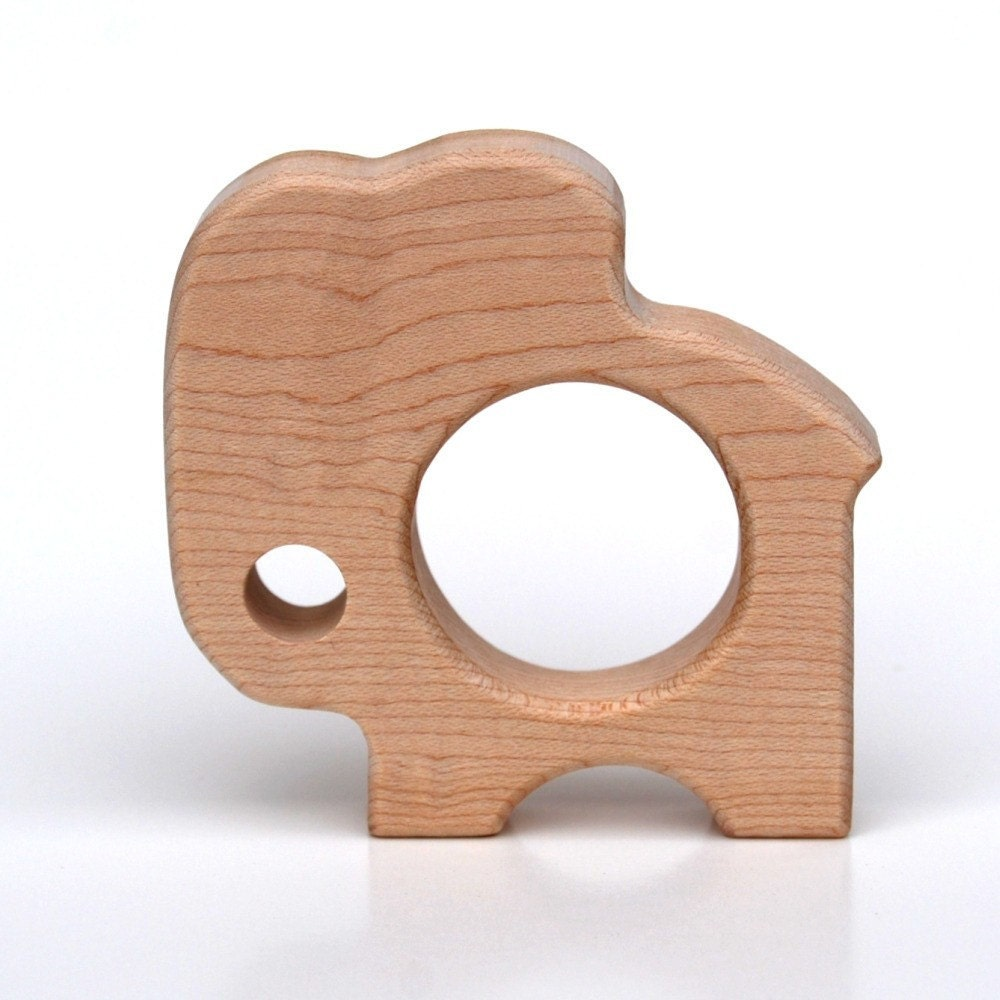 Little Elephant TEETHING TOY - natural wooden teether for infants and toddlers