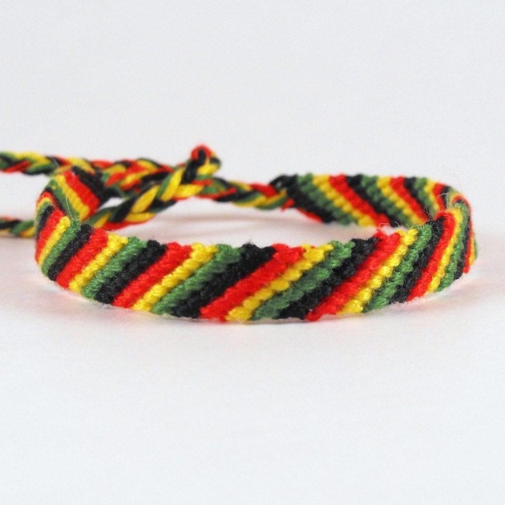 friendship bracelet micro macrame rasta stripes by