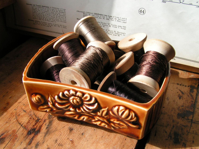 Vintage Chrysanthemum Dickmal Pottery Vase - Toffee Brown - CopperAndTin