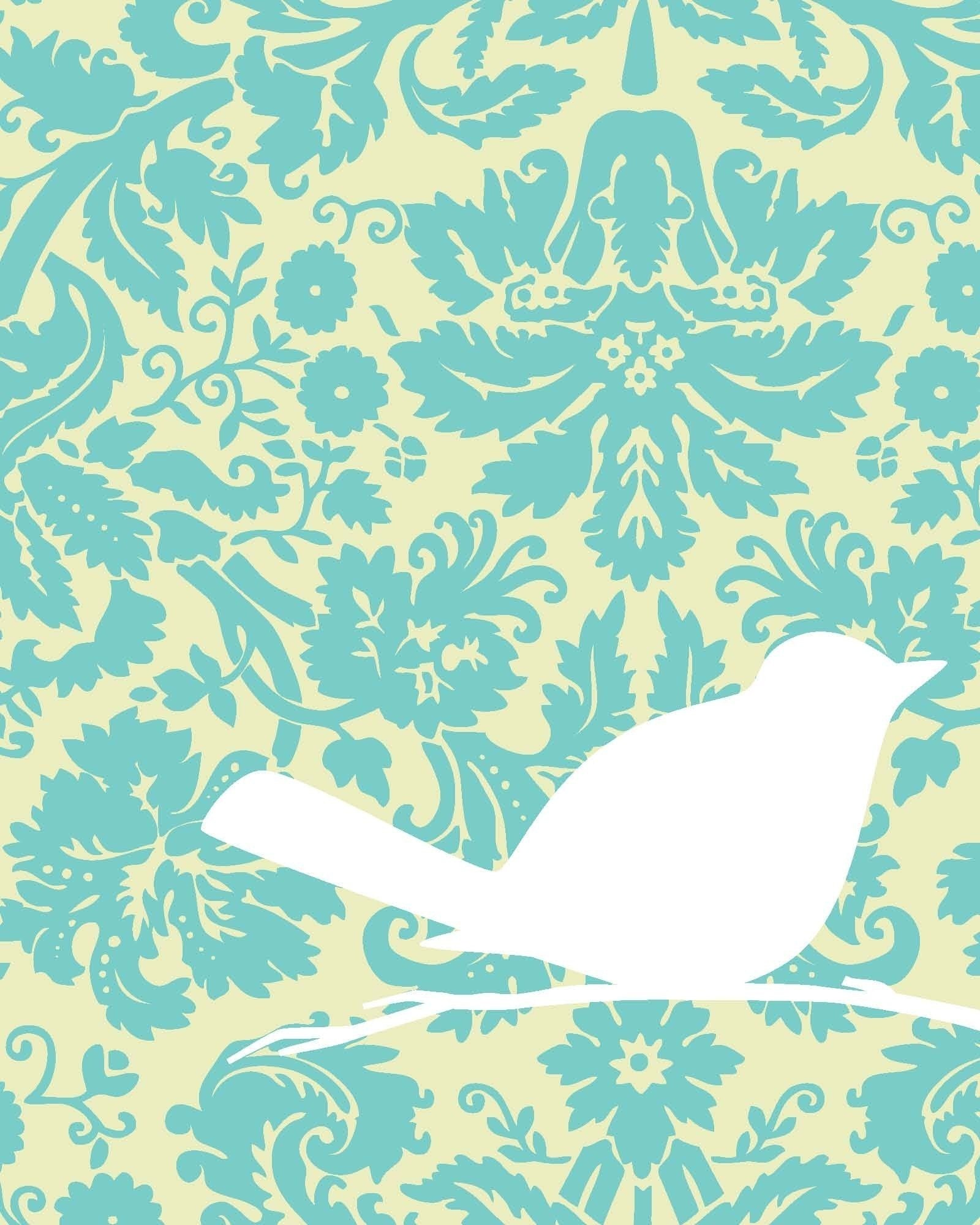 White Bird on Antique Blue