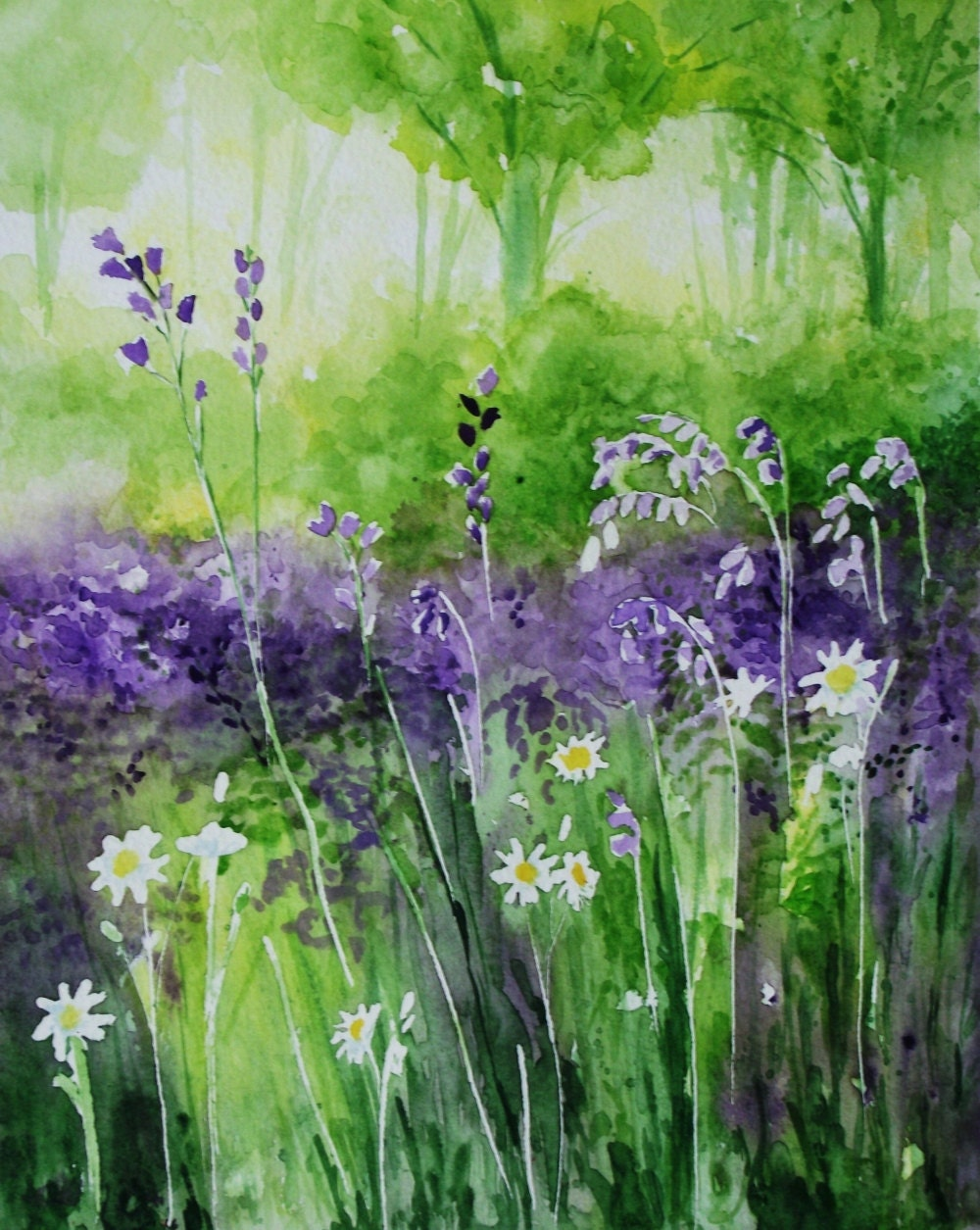 Original watercolour painting 'Bluebell Woods'