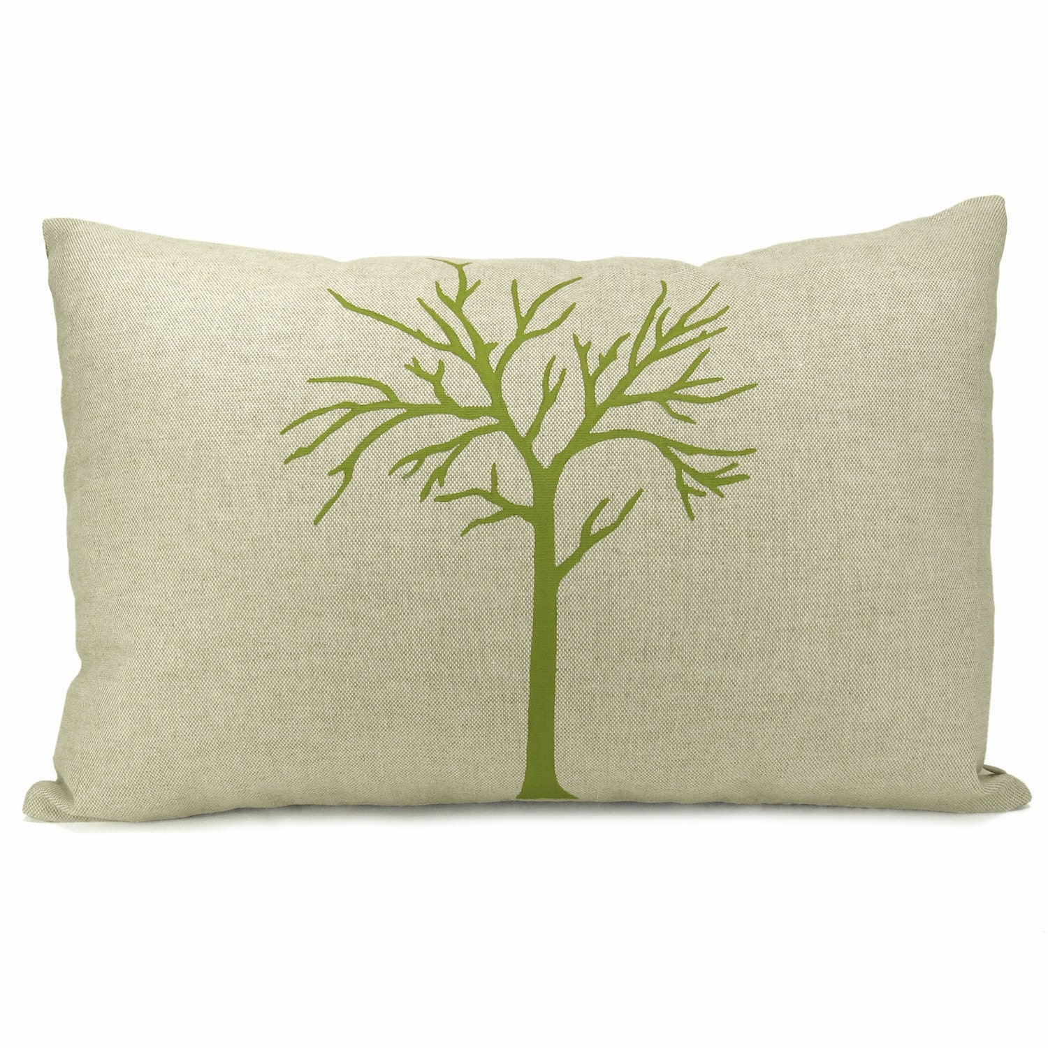 Green Modern Tree on Natural Linen Front And Damask Linen Back Cushion Cover