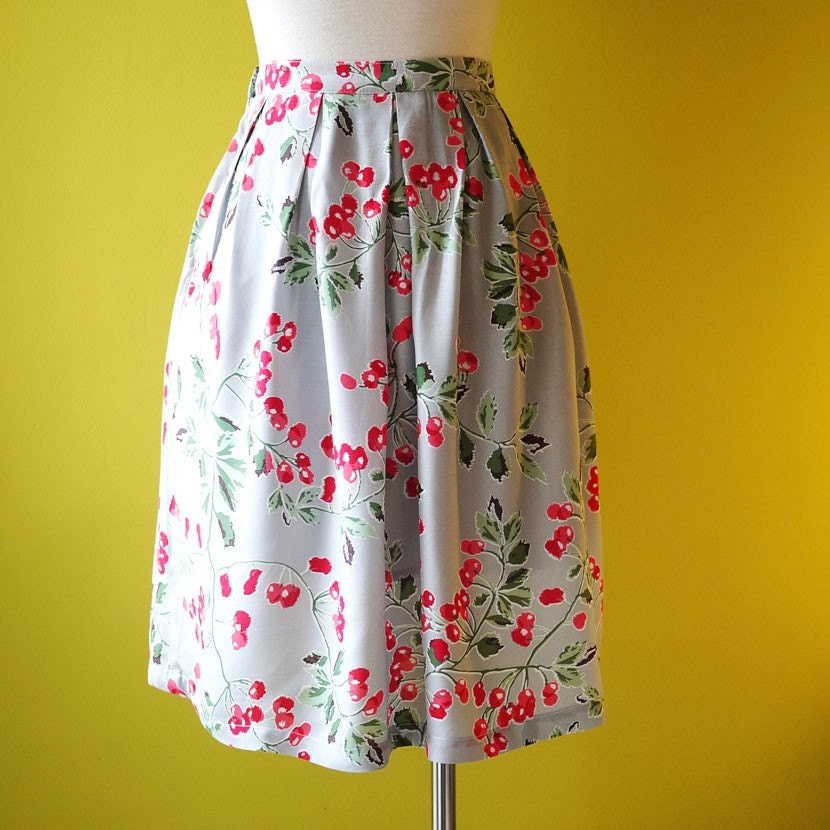 Retro Cherry Print Cotton Gathered Skirt Fully Lined - Custom Made to All Sizes