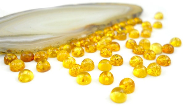 8pice set - Natural Baltic Amber cabochon  - yellow - citrine - 4mm round cabochon.