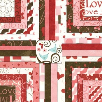 Moda Lamour Valentine Ivory and Red Hearts