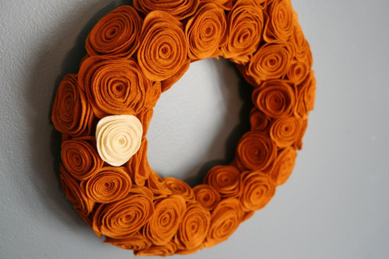 Autumn Pumpkin Felt Rosette Handmade Wreath - EmbellishedLiving