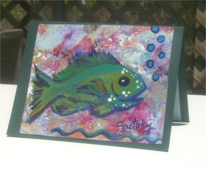 Emerald Fish on canvas card