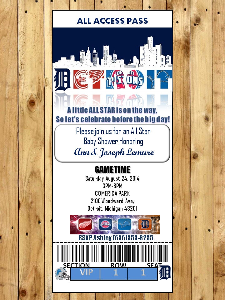 sports themed baby shower and birthday party invitation