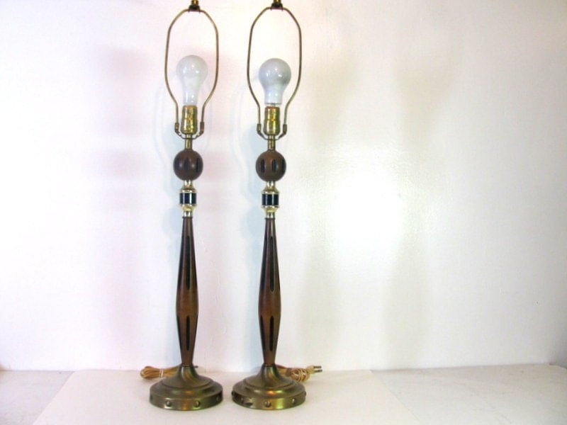 vintage mid century pair of tall and skinny side table lamps with. Black Bedroom Furniture Sets. Home Design Ideas
