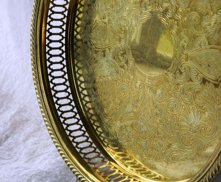 Vintage Chinoisere Round Brass Tray - Hollywood Regency Tray - Serving Tray - Entry Tray