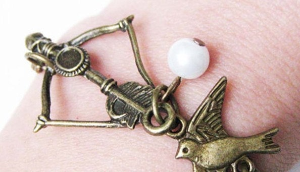 The Hunger Games Inspired Bow with Mockingjay and  Pearl great Bracelet