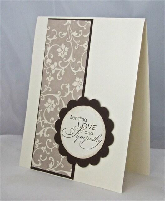 Items Similar To Condolence Sympathy Card Stamped Blank Espresso Brown Vanilla Handmade