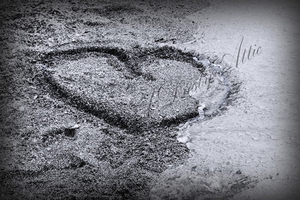 Love Heart Beach Photo Black and White. From adustyframe