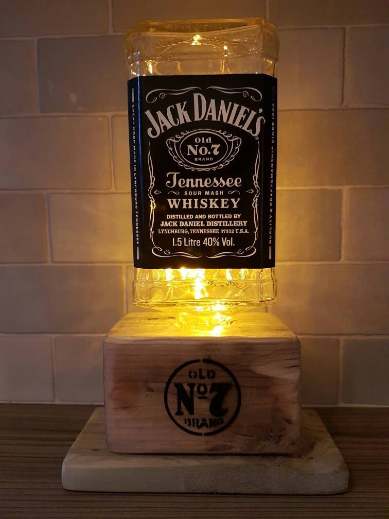 Jack Daniels 1.5 Litre Optic Whiskey Bottle Upcycled LampLight  Stand