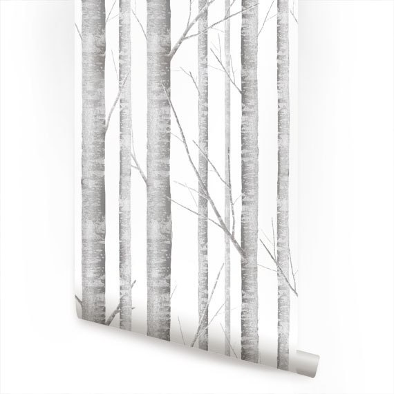 Birch Tree Peel & Stick Fabric Wallpaper Repositionable - AccentuWall