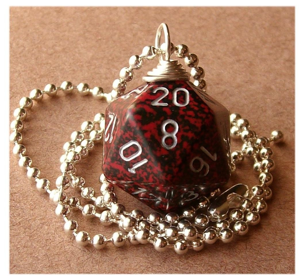 geekery, dice, die, geek, game, dnd, jewelry, necklace, pendant, accessory, dungeons dragons, pawandclawdesigns, red, black