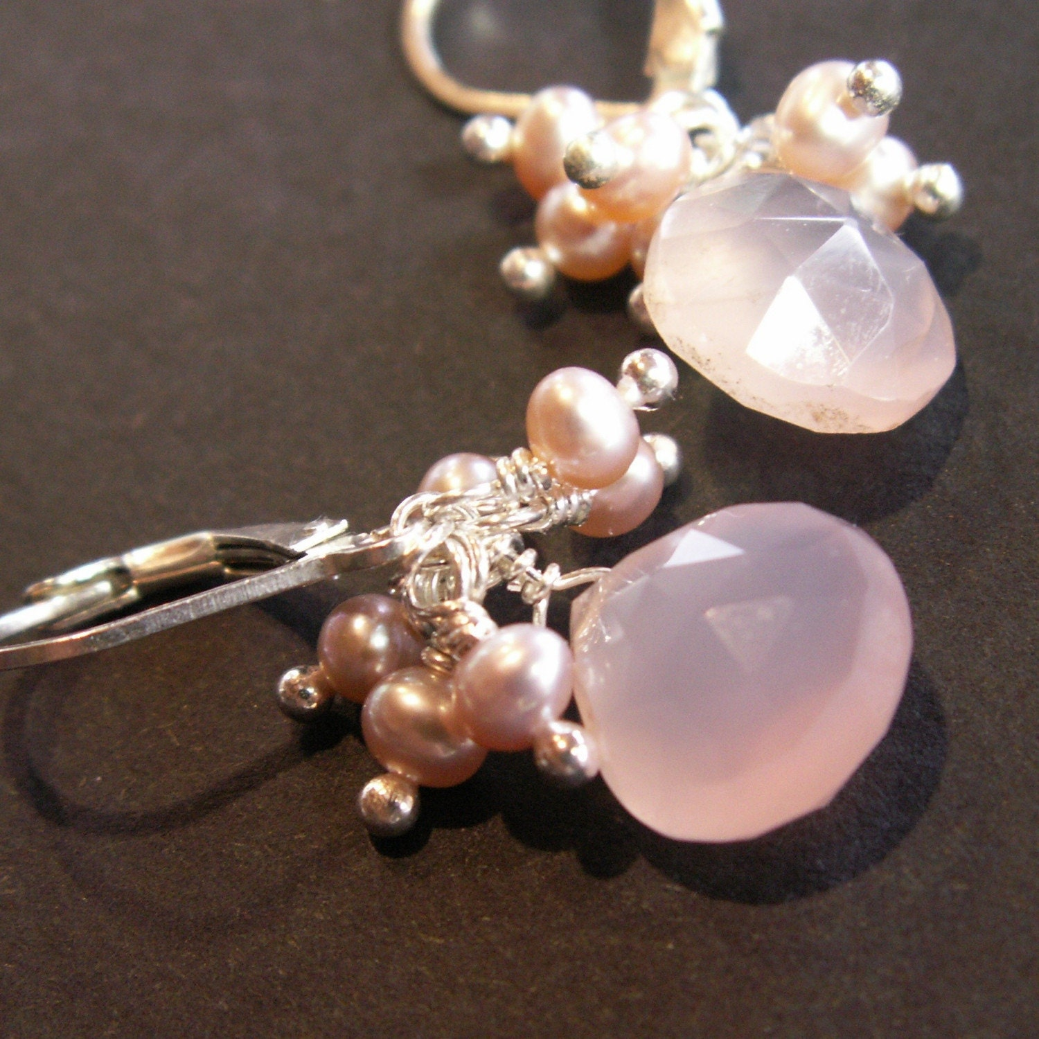pink chalcedony sterling silver earrings
