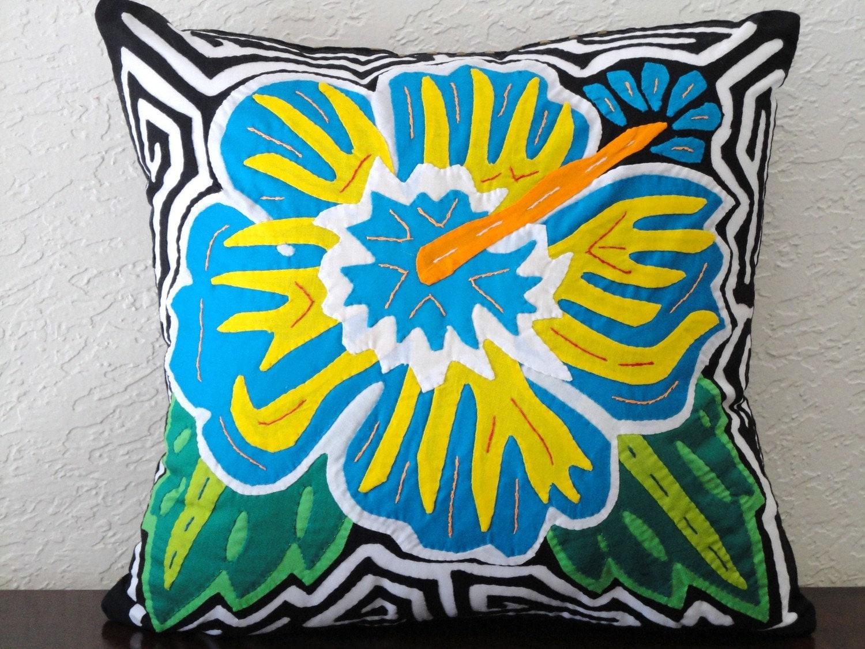 "Blue Hibiscus Pillow Mola 14 "" x 13"" (36 x 33cm)"
