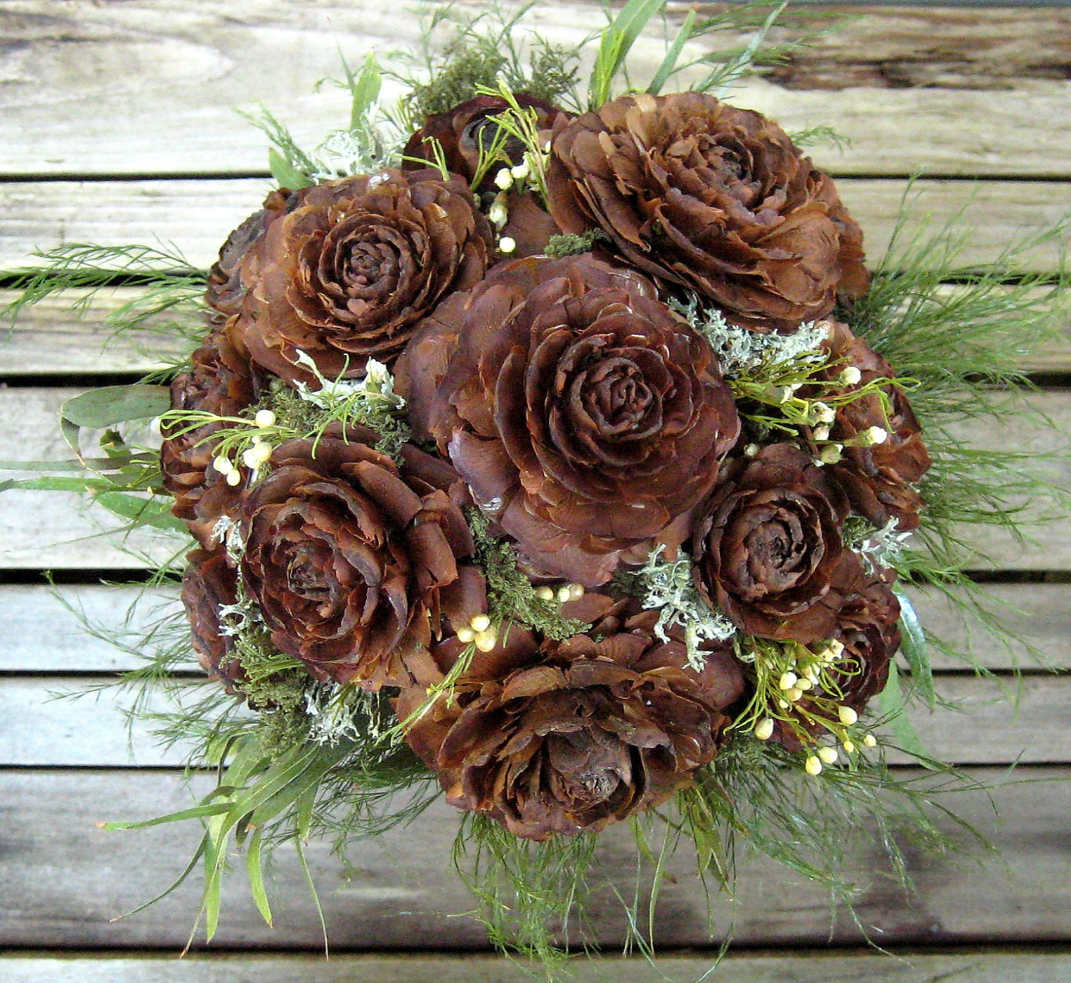 woodland wedding bouquet natural dried flower by