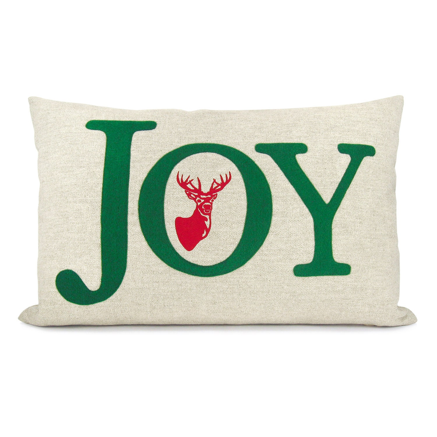 Felt Christmas pillow cover, Holiday decoration - Green JOY word applique and red reindeer print on natural linen - 12x18 lumbar pillow case - ClassicByNature