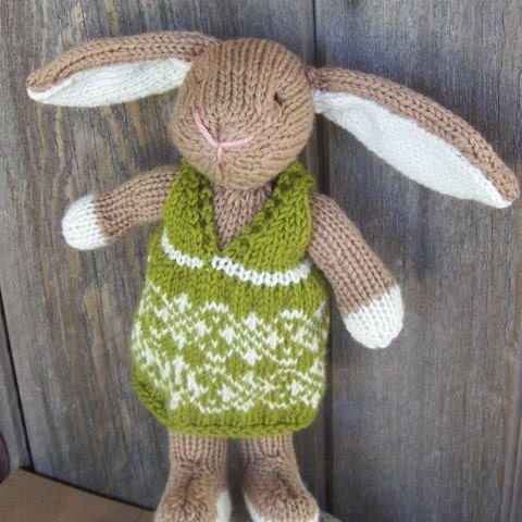 Bunny Rabbit, Hand knit/All natural/Eco Friendly/Heirloom Toy