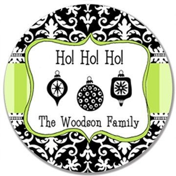 Personalized Melamine Plate-Christmas Damask Ho Ho Ho