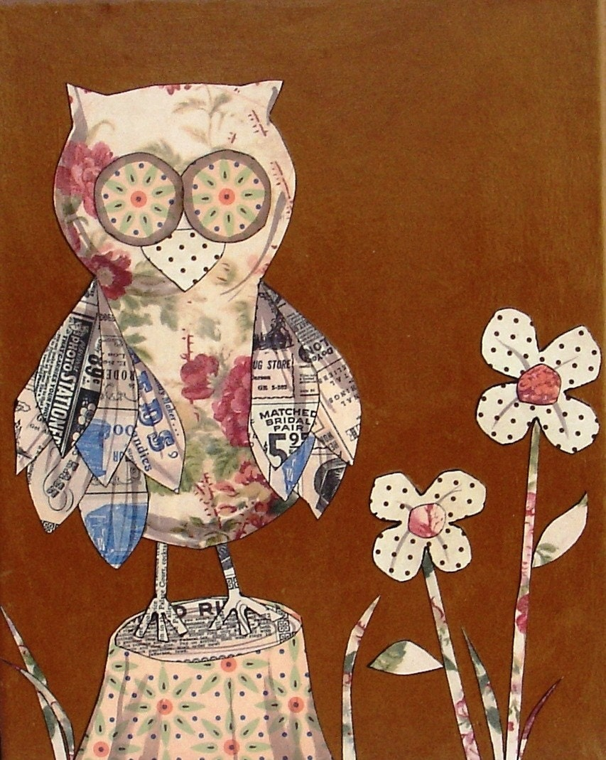 Paper Patchwork Owl Art - 8 x 10 Canvas Collage of an Owl Standing on a Tree Stump with Flowers