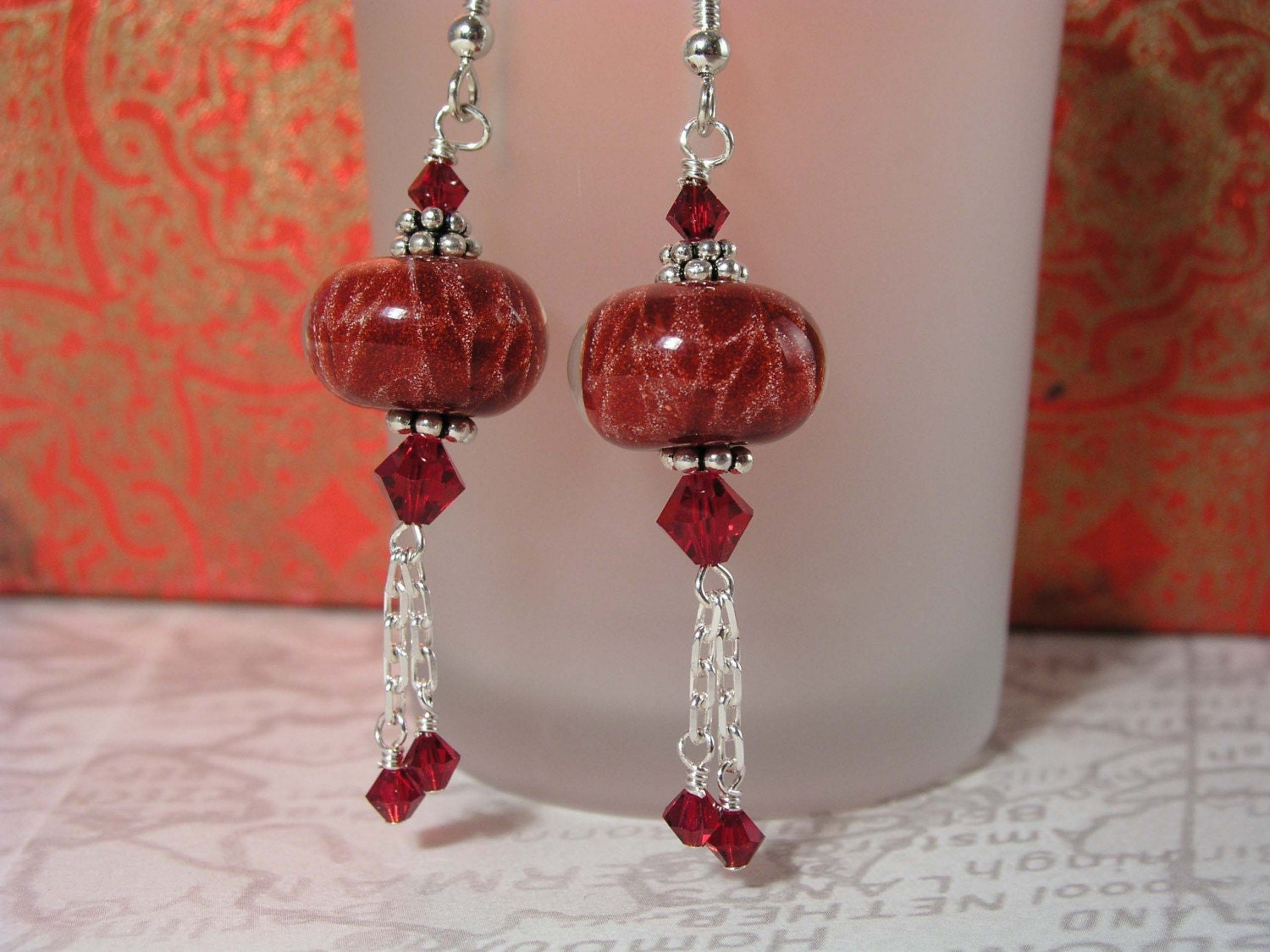 GALLAXY..Artisan Lampwork Beads, Sterling Silver Chain, Bali, Swarovski Crystals, and Sterling Silver Earrings