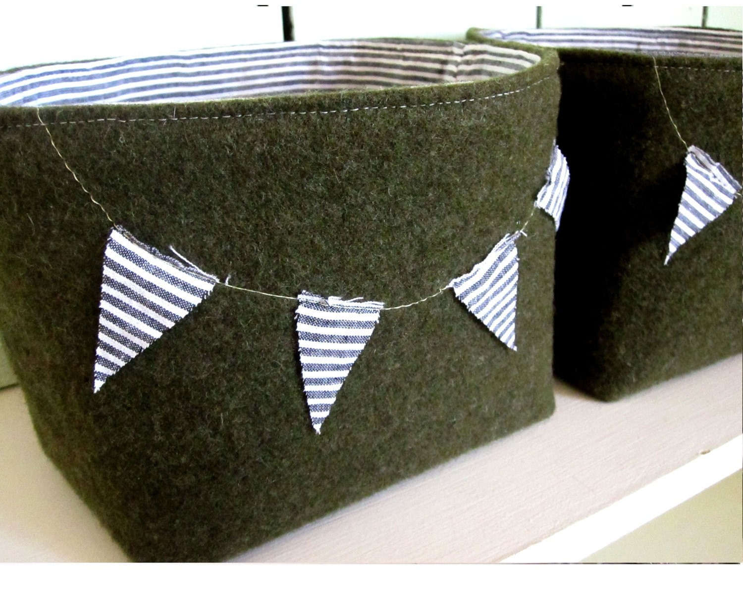 Set of Two Fabric bins with Bunting Made from Upcycled Army Wool Vintage Fabric