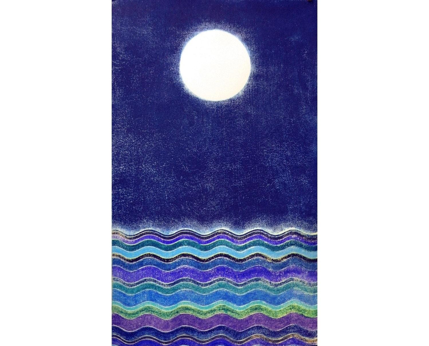 Moon and Sea III (18X30 Original Woodcut)