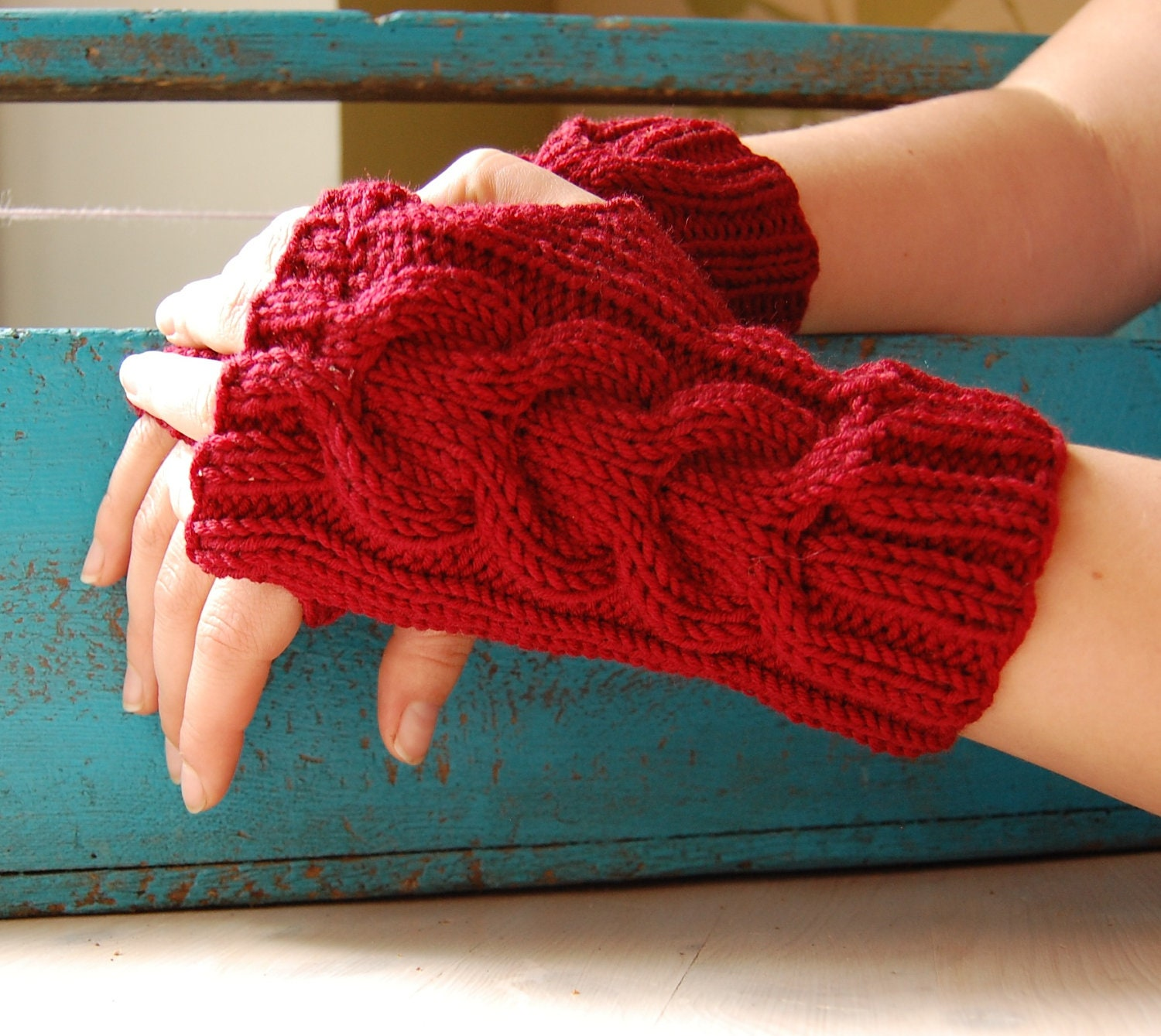 Knit Arm Warmer Pattern : Knit arm warmers with cable pattern berry red by wooolmint on Etsy