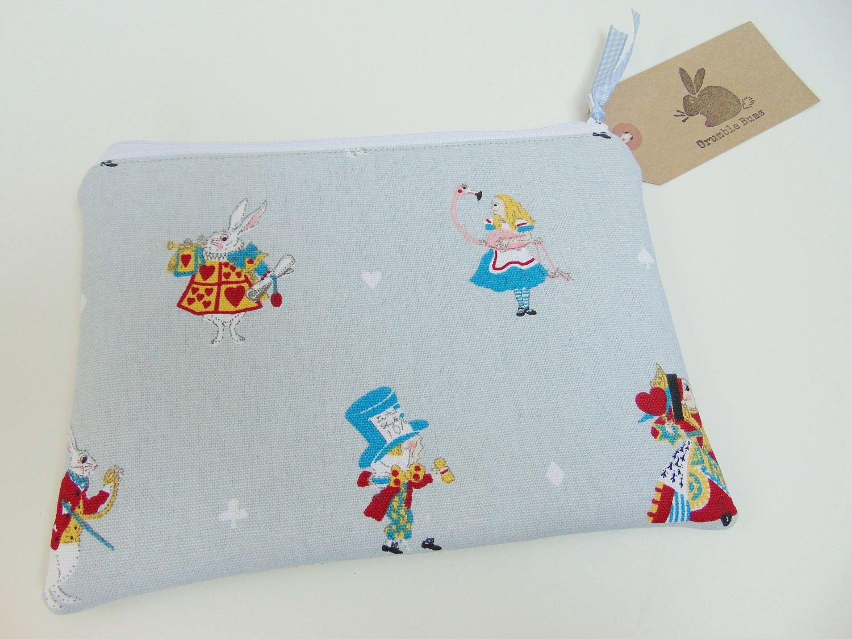Handmade Alice In Wonderland Makeup Bag White Rabbit Fabric Sophie Allport Alice Fabric Pencil Case