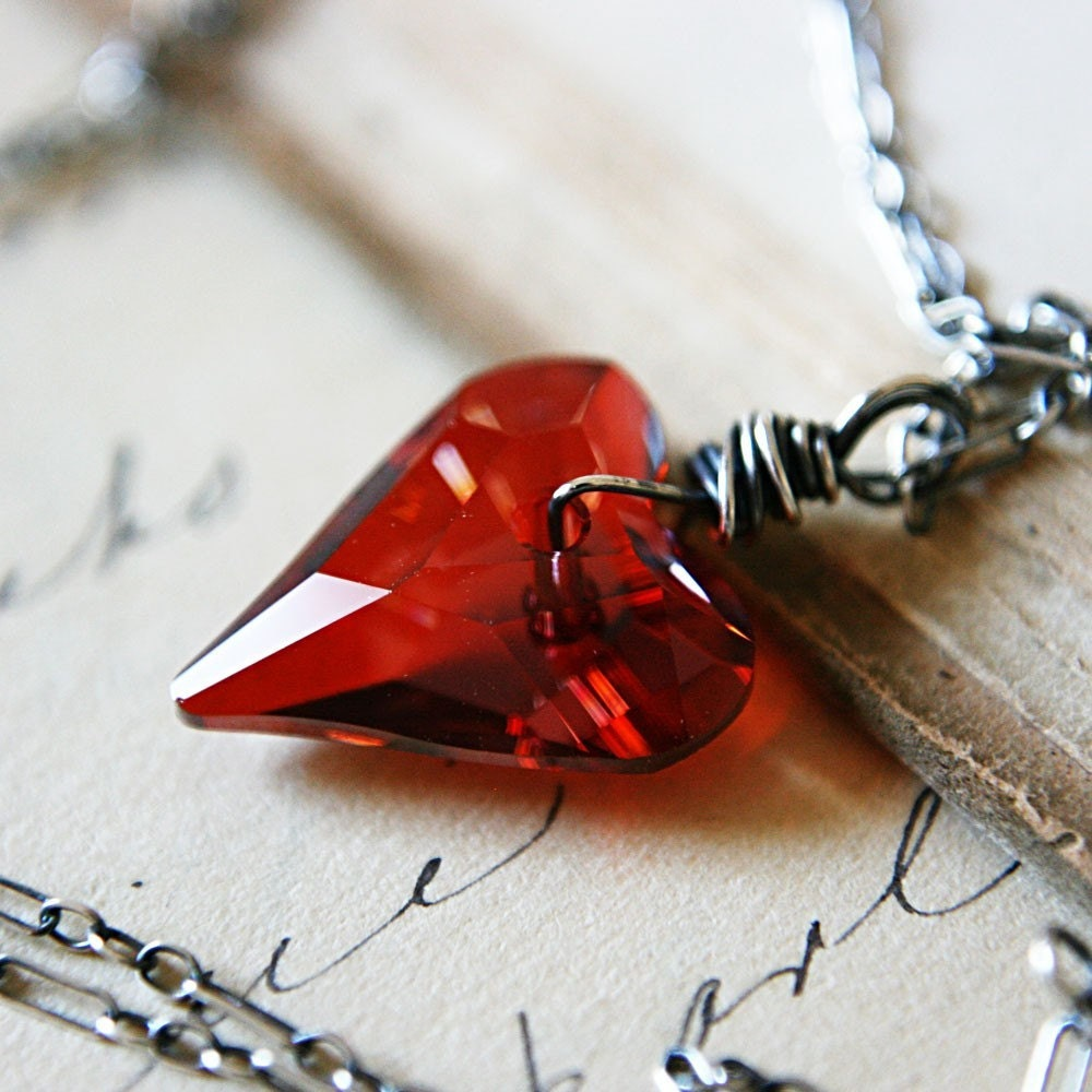 Valentine Necklace Red Swarovski Crystal Heart Pendant Sterling Silver, Ardor