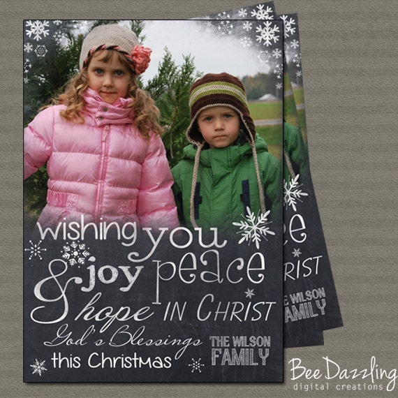 SAME DAY TURNAROUND Custom Christmas Card --printable christmas card -  chalkboard typography - TanyasPrints