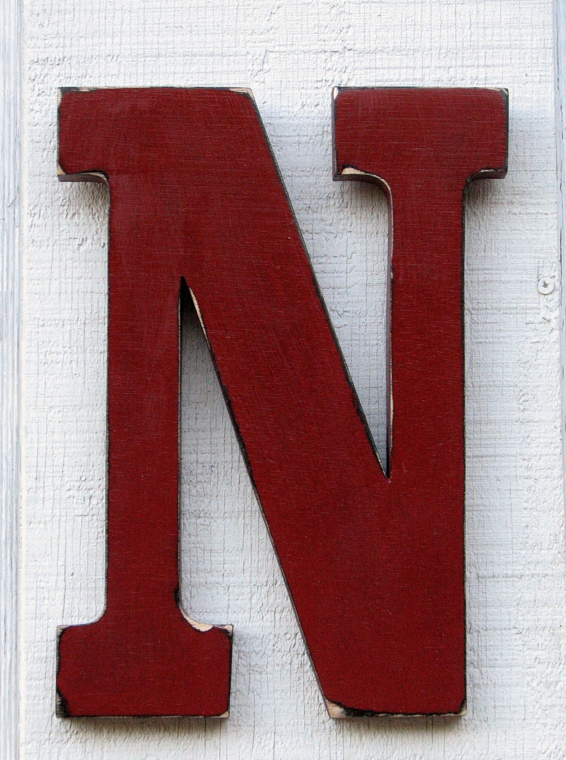 Large Wooden Letter N 12 Inch Tall Distressed By