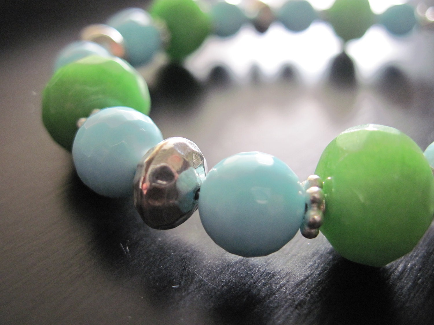 Lime Green Jade, Amazonite Bracelet, Artisan Sterling Silver Beads