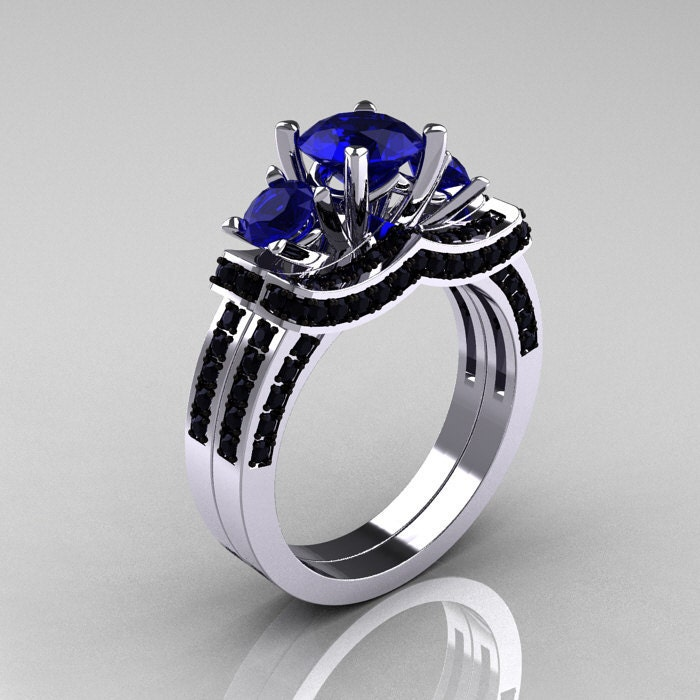 French 14K White Gold Three Stone Blue Sapphire by artmasters