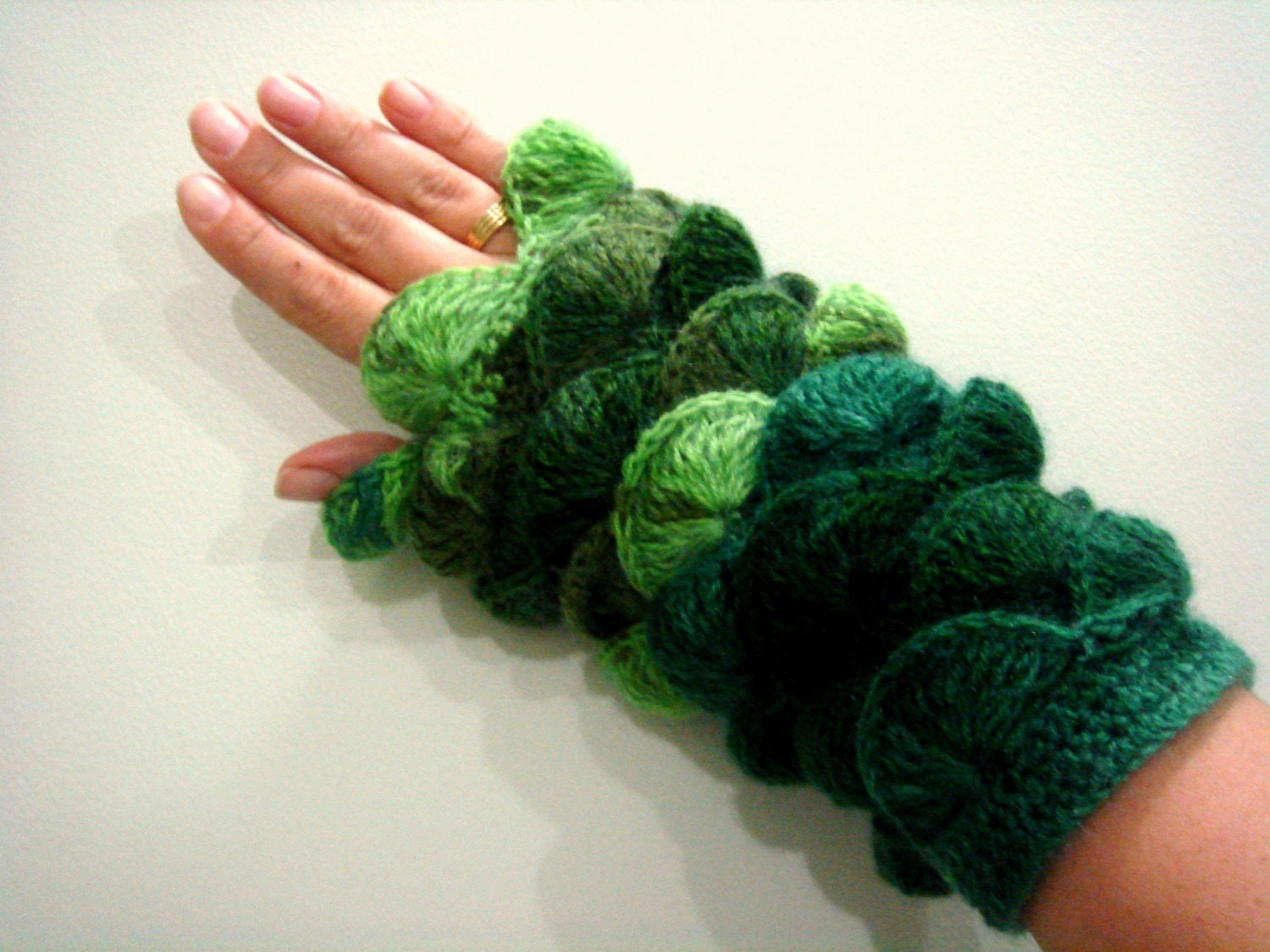 Multi color   navy Olive green yarn Fingerless by cookieletta from etsy.com