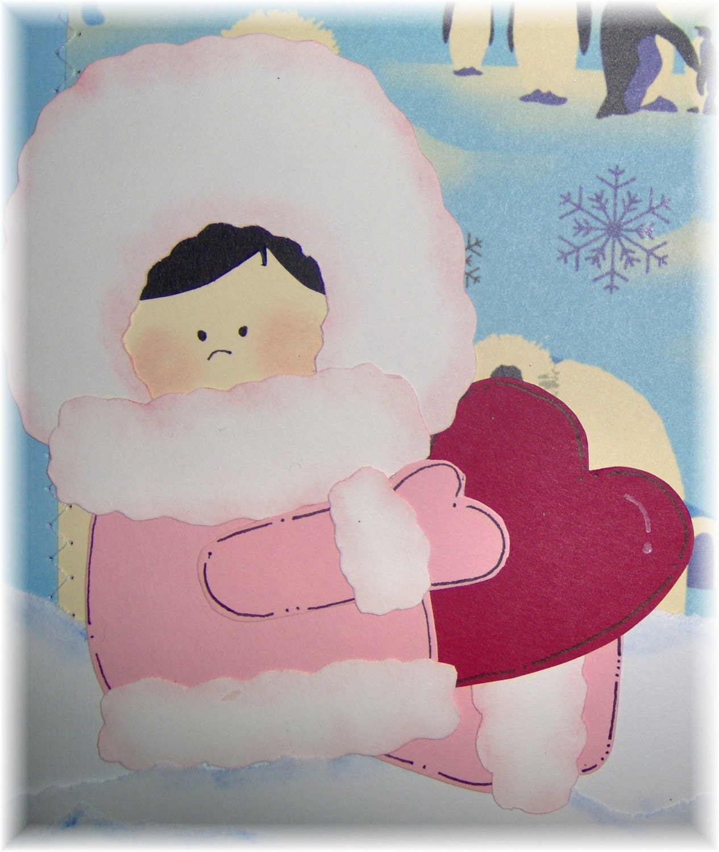 Eskimo Kisses 2 12x12 premade SEWN layout girl and boy eskimo igloo and penguin glittered
