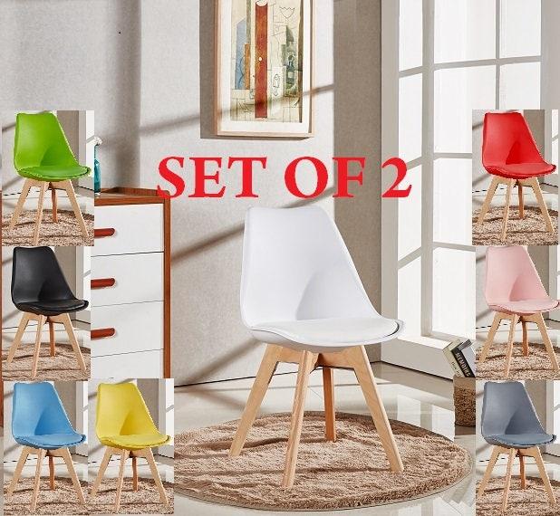Set Of 2 Lorenzo Tulip Stylish Chair Modern Living Room Dining Room Chair Mid Century Design Scandinavian furniture EAMES Retro