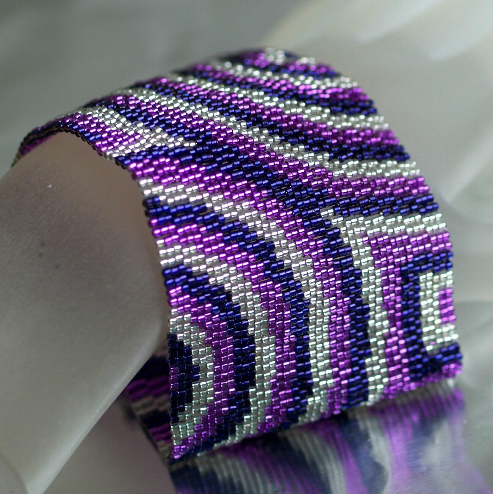 Concentric - Super Wide Peyote Cuff in Passionate Purple (3114)
