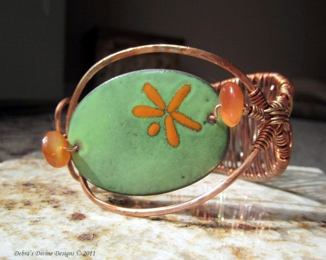 Copper Cuff with Enameled Copper and by DebrasDivineDesigns from etsy.com