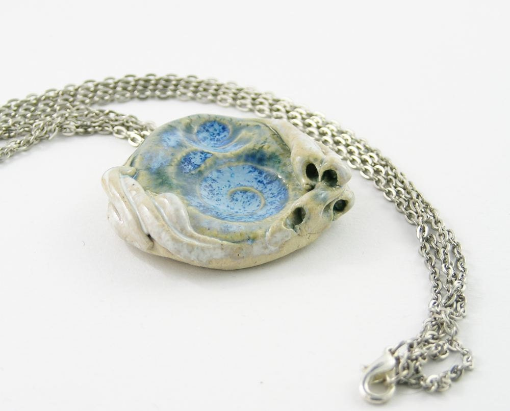 necklace choker ceramic pendant on silver chain organic nature modern swirl snail shell milky white blue sea beach free shipping - PiaBarileJewelry