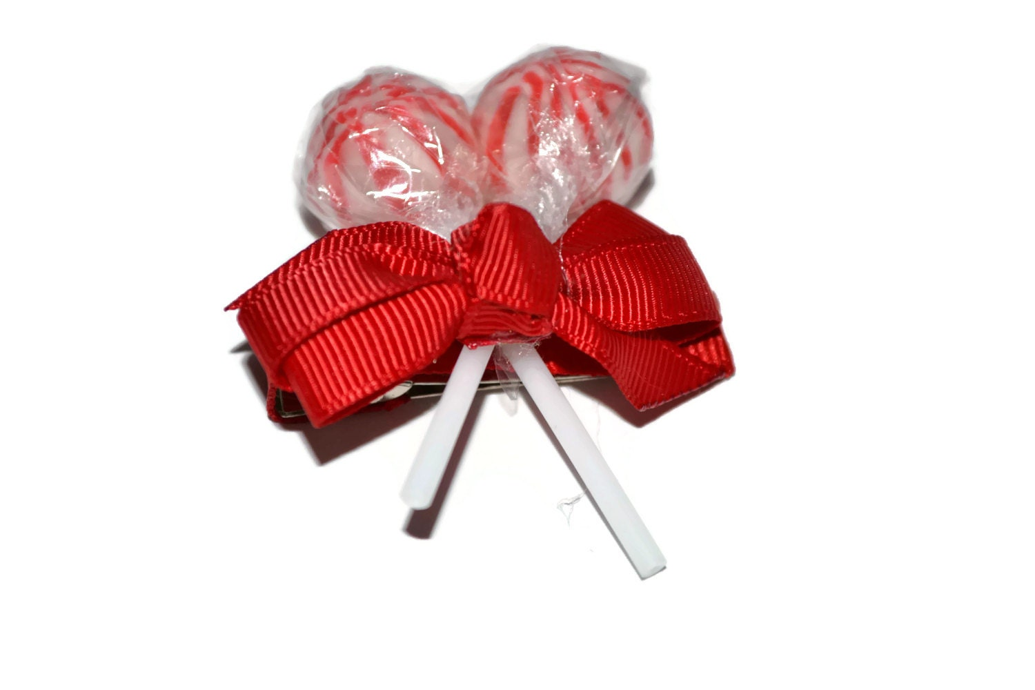 Red Lollipop Hair Clips, Christmas, Christmas Accessory, Stocking Stuffer, Christmas Gifts, Red Hair Clip, Flower girl accessory, weddings - EdibleWeddings